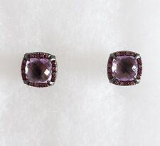 David Yurman Chatelaine Pave Bezel Stud Earrings w/ Amethyst and Pink Sapphires