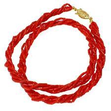 Genuino Natural (NO incrementado) Rojo Coral 5 Hilos Trenzado Collar 6mm 43.2cm