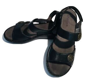 ARAVON by New Balance Candace Womens Black Soft Leather Comfort Sandals Size 10