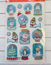 Snow Globe Puffy  Stickers Planner Papercraft Holiday  Xmas Crafts Santa Snowman