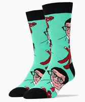 Jyinstyle Men's Combed Cotton Mr. Bean & Teddy Crew Socks Blue, Shoe sz 8-13