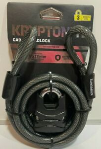 Kryptonite Bike Lock Key Cable & Steel Padlock 6 ft x 12 mm + LED Lighted Key