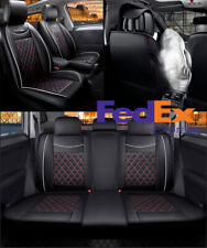 Deluxe Car Seat Covers Cushion Front & Rear Full Set Black PU Leather Universal