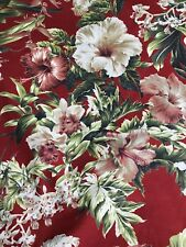 3 Yards TRENDEX Red Green Floral Garden Hawaiian Hibiscus Fabric
