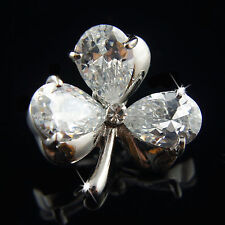 18k white Gold GF lucky clover leaf Diamond simulant brooch pin