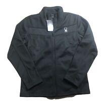 $129 SPYDER Men's Full Zip Sweater Fleece Jacket Black  Size Medium New