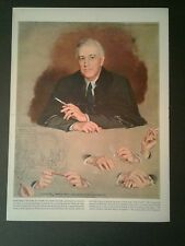 1949 President Franklin D Roosevelt FDR Hands Portrait Douglas Chandor Mag Art