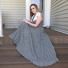 Jane Justin Don Sophisticates Vtg Dress Sm Gingham Accordion Pleat Halter Long