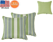 Bossima Outdoor Patio Square Throw Toss Pillow Green Striped Reversible,Set of 2