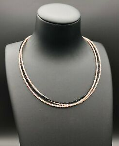 3 Strands Necklace made with Tiny 2 mm Natural Pink Opal and Black Spinel Beads