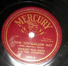 SHERIFF TOM OWEN a new ten gallon hat you can't cry over my shoulder 78 c1219