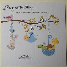 PERSONALISED Handmade Card NEW BABY BIRTH CONGRATULATIONS Boy