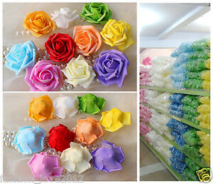 100 Fake Flowers Heads Foam Roses Bulk For Craft DIY Flower Balls Cake Topper