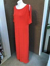 $109 Chico's Travelers Red Tomato Twist Cold Shoulder Maxi Dress 2 = L 12/14 NWT