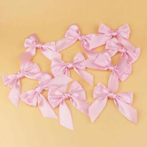 12/25pc Christmas Tree Mini  Bow Ornament Decoration Xmas Party Pink White