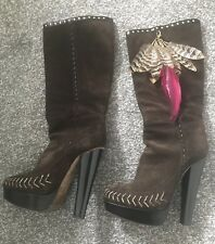 Jimmy Choo Boots Brown Snake Skin And Feather Detail Size 3 36