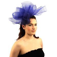Fancy Kentucky Derby Tulle Headband Comb Fascinator Millinery Cocktail Hat Blue