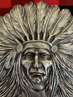 Rare Important Antique Sterling Silver Indian Chief Desk Clip BS&F Unger Reduced