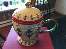 """Waterford Holiday Heirlooms """"Christmas Argyle Mug with Lid"""" New in Box"""