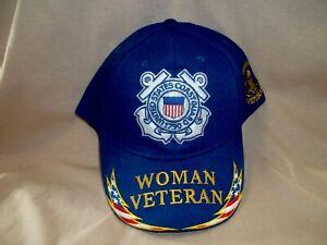 Embroidered, 100% Cotton, Woman Coast Guard Veteran Ballcap