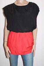 BESS Designer Black Orange Short Sleeve Tunic Dress Top Size M BNWT #TD07