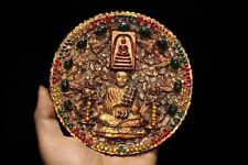Tibetan Buddhism Copper Gold Plated Inlaid Gems Buddha statue Town House Evil