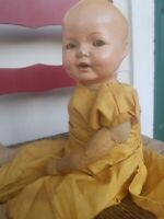 Old 1927 Ideal ANTIQUE vintage DOLL FLIRTY blinky EYES kapok cloth body Crybox