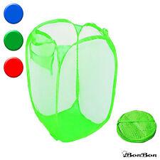 BonBon 2pcs Foldable Pop Up Laundry Hamper Basket Mesh PopUp Storage Bag (Green)