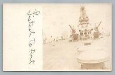 """Listed to Port"" USS Nevada RPPC Antique WWI Navy Photo—Battleship Guns 1910s"