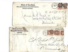 2-1862 US OFFICIAL BUSINES ENVELOPE COVER # 65 3¢ Washington Strip of 3 & pair