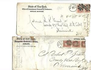 2-1862 US OFFICIAL BUSINES ENVELOPE COVER # 65 3¢ Washington Strip of 3 & pair