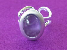 Satin Silver plated oval ring with Amethyst Cabochon, adjustable.