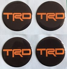 TOYOTA TRD ALLOY WHEEL CENTRE CAP DOMED STICKERS X4  MR2 Gt86 BLK ORANGE 50mm