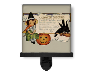 Halloween Greeting Young Witch on a Broom Funny Glass Photo Night Light