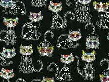 Fat Quarter Sugar Skulls Cats Kittens Kitty Skull Halloween Cotton Fabric Fq