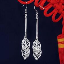 Women Fashion Jewelry 925 Sterling Silver Plated Leaf Long Tassel Dangle Earring