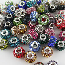 10PCS 14mm Czech Crystal Silver Big Hole Beads Fit European Charm Bracelets