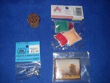 Miniature accessories: bushel basket, grinder, painting, 1:12 scale, Nib, lot #4