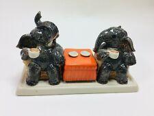 Salt and Pepper Shakers Set Elephant Thai Ceramic Miniature Collectibles Vintage