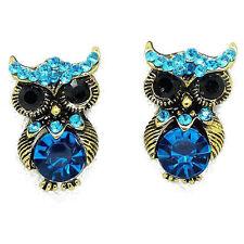 Women Tone Earrings Jewlry Blue Crystal Ear Studs Owl Gold Plated