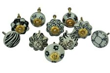 Set Of 10 Cupboard Cabinet Knobs Drawer Pull Handle Floral Ceramic Design NEW