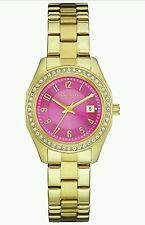 Caravelle New York Ladies Stainless Steel Gold Pink Crystal Dial Wrist Watch.