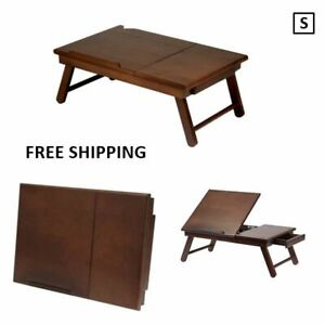 New, Wood Alden Flip Top Bed Desk, Tray with Drawer, Walnut Finish Foldable Legs