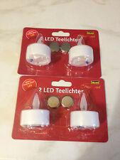 Teelichter 4er Set LED Lichter. Idena incl Batterien Teelichtambiente ohne Feuer