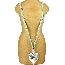 Chunky silver hammered heart pendant & bead crystal green suede fashion necklace