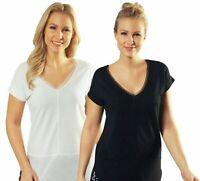Damen Shirt Feinstrick-Optik Sommer Freizeit T-Shirt V-Ausschnitt Öko-Tex