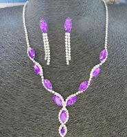 GXL412 Unique Retro Fashion Elegant Tassel Crystal Sweater Necklace Earring Set