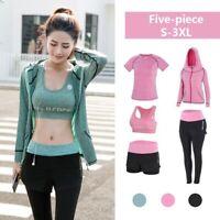 37e8ba3c4 Women's Gym Fitness Jogging Workout Sport Suit Bra Leggings Shorts Top Yoga  Sets