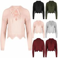 Womens Scallop Edges Eyelet Lace Up Choker V Neck Chunky Knit Jumper Cropped Top