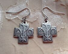 NEW Silver Cross Earrings Christ Chi Rho XP Alpha Omega Ancient Greek Nerd Geek